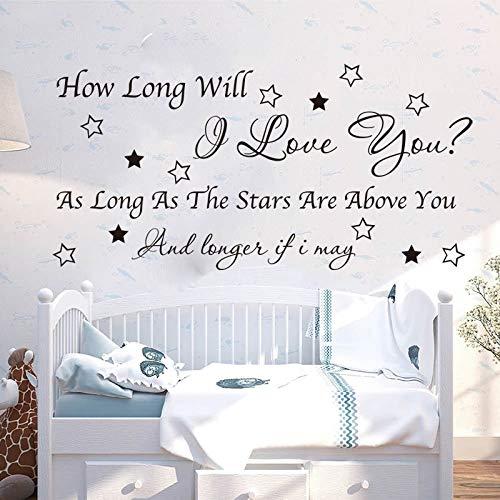 Hur länge kommer jag att älska dig musiktexter väggdekaler barnrum barnkammare familj kärlek väggdekaler sovrum vinyl dekoration 84x42cm anpassningsbar färg text