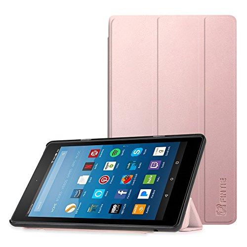 Fintie Hülle für Amazon Fire HD 8 Tablet (7. & 8. Generation - 2017 & 2018) - Superdünne Lightweight Schutzhülle Tasche mit Standfunktion & Auto Schlaf/Wach Funktion, Roségold