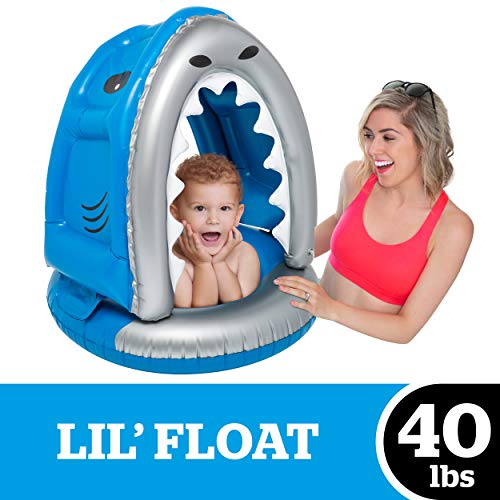 BigMouth Inc. Lil' Silly Shark Float with Canopy - Ultra-Durable Dual-Chamber 3-Point Harness w/ Child Safety Valves & UPF 50+...
