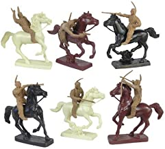 Plains Indian Mounted Warriors Plastic Army Men: Six 54mm Figures and 6 Horses - 1:32 scale
