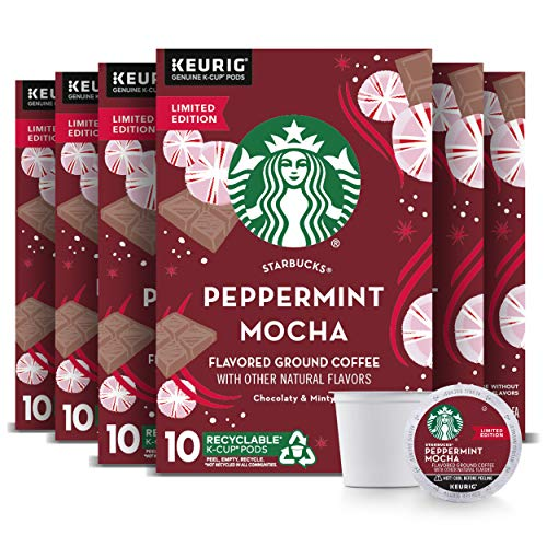 Starbucks Peppermint Mocha Flavored Coffee, Peppermint Mocha, 60Count