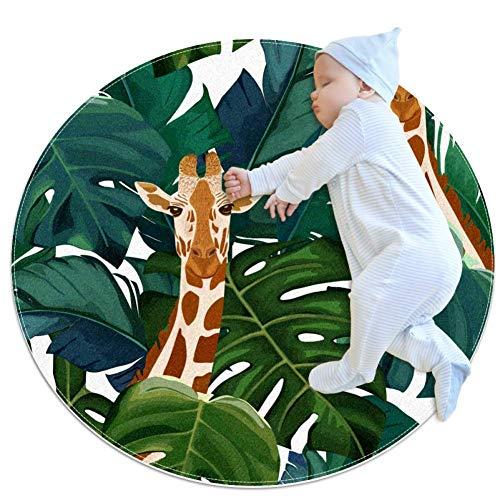LORVIES - Alfombra de espuma antideslizante para salón, dormitorio, estudio, sala de juegos, diseño de jirafa, diseño de palmera exótica y jirafa, de 2,3 m de diámetro, tela, multicolor, 70x70cm/27.6x27.6IN