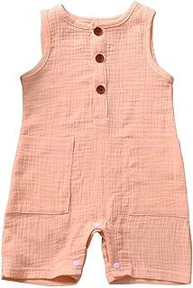 JBEELATE Newborn Girls Cotton Linen Romper Summer Outfit Sleeveless Pajamas Bodysuit Jumpsuit Infant Baby Boys One Piece