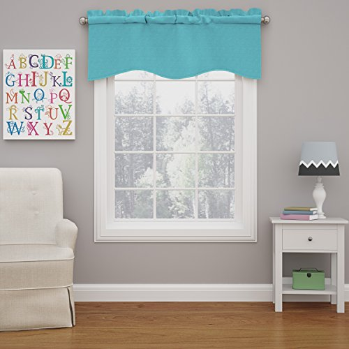 """ECLIPSE Kendall Solid Scalloped Window Valance Curtains, 42"""" x 18"""", Turquoise"""