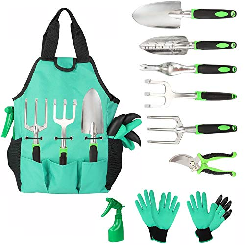 Gardening Tools Set 5 Pieces Stainless Steel Gardening Kit with Carrying Case,