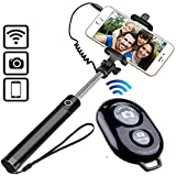 KimlooCompact Wired Monopod Extendable Selfie Stick with AUX Wire Built-in Remote Pocket Size