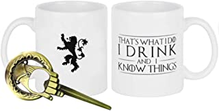 That's What I Do, I Drink and I Know Things (Game of Thrones) + FREE Hand Of The King Bottle Opener,Tyrion Lannister 11 OZ Ceramic Coffee Mug with the Lannister Lion Family Sigil on the Back With Uniq