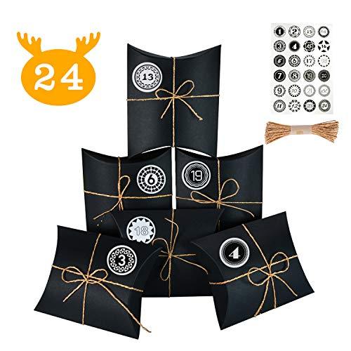 KATELUO 24 adventskalender,24 Geschenk Papiertueten, 24 Adventskalender zum Befüllen, mit 24 Aufklebern,Geeignet für Weihnachts-Countdown-Kalenderereignisse, Geburtstagsereignisse (schwarz)