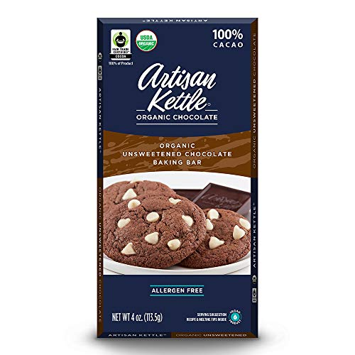 Artisan Kettle Organic Unsweetened Chocolate Baking bar, 4 Oz (Pack Of 12)