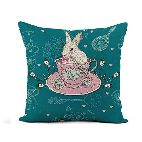 N\A Throw Pillow Cover Pink Afternoon Tea Tazas Tetera Cucharillas Conejo Conejito de Pascua Funda de Almohada Decoración para el hogar Funda de Almohada de Lino de algodón Cuadrado Funda de cojín