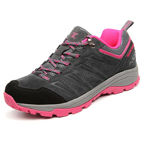 XIANG GUAN Femme Suède Imperméable Respirant Outdoor Sport Chaussures de Randonnée Trekking Trail Basses (EU 39, Gris)