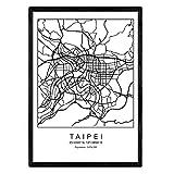 Nacnic Lámina Mapa de la Ciudad Taipei Estilo nordico en Blanco y Negro. Poster tamaño A3 Sin Marco Impreso Papel 250 gr. Cuadros, láminas y Posters para Salon y Dormitorio