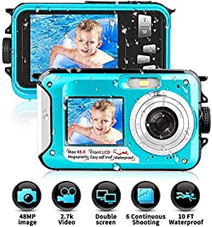 Camara Acuatica Sumergible 2.7K 1080P Full HD 24MP Pulgadas Camara Fotos Acuatica Selfie Camara de Pantalla Dual