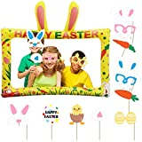 Easter Bunny Photo Booth Props and PVC Inflatable Selfie Photo Frame Set - Funny Easter Photo Booth Party Supplies Favors for Family Kids Adults - Easter Bunny Props