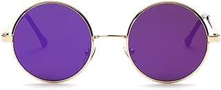 retro sunglasses flat circular metal color film Prince sunglasses (Gold frame Purple Lens)
