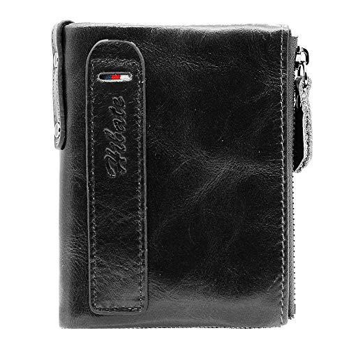 Hibate (Negro) Cartera Cuero Hombre RFID Bloqueo Billetera Tarjetas de Crédito Carteras Piel Monedero