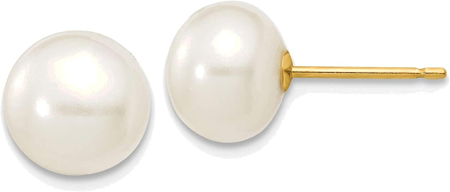 7-8mm White Button Freshwater Cultured Pearl Stud Post Earrings in 14K Yellow Gold
