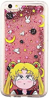 Pink Glitter Flowing Sailor Moon Luna Cat Case for Apple iPhone 6 6s iPhone6 iPhone6s Cartoon Shockproof Protective Glittery Liquid Floating Transparent Girls Teens Women