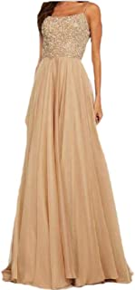 neveraway Womens Sequin Chiffon Backless Full Length Sling Cocktail Dress