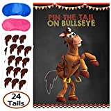 Toy Inspired Story Party Supplies, Pin The Tail On Bullseye Party Game, Large Poster 24PCS Reusable Tails Sticker for Kids Boys Birthday Party, Toy 4th Party Favors