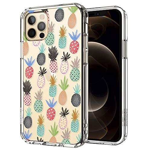 MOSNOVO Cute Pineapple Pattern Designed for iPhone 12 Pro Max Case 6.7 Inch,Clear Case with Design,TPU Bumper with Protective Hard Case Cover
