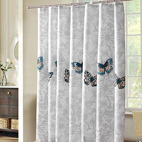 HuaForCity Duschvorhang aus Stoff B x H 200 x 200 cm wasserdichter waschbarer Textil Anti-Schimmel Digitaldruck inkl. 12 Duschvorhangringe für Badezimmer