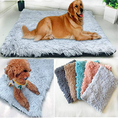 SKLLA Plush Cosy Crate Pad Dog Bed Cover Only Warm Mat Cat Faux Fur Mattress Fluffy Blanket Heated Kennel for 2 Older Dogs Kitten Puppy Winter dark grey medium ZZAY