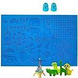 DOLYUU 3D Stift Vorlage, 3D Druckstift Vorlage,3D Stifte Matte,große Matte (41,5 x 27,5cm) mit Tiermuster hilfreich für Anfänger,Kinder und 3D-Stiftkünstler,mit 2 Finger Stall.