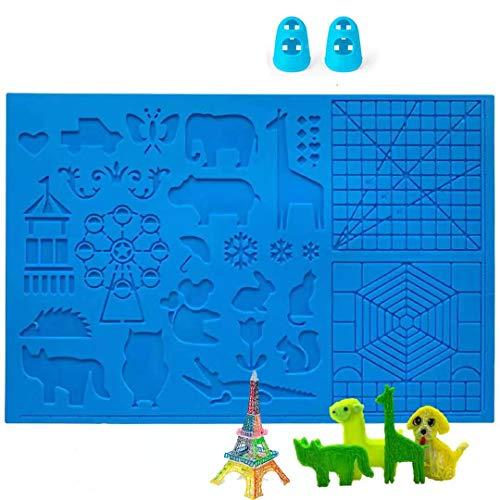 DOLYUU - Tappetino per penna 3D, tappetino grande (41,5 x 27,5 cm) con motivo animale, utile per principianti, bambini e artisti, con 2 dita