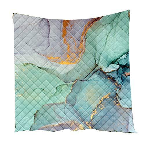 Fansu Tagesdecke Bettüberwurf Steppdecke Mikrofaser Doppelbett Einselbetten Tagesdecken Gesteppt Bettwäsche Sofaüberwurf Wohndecke Stepp Gesteppter Quilt (Marmor 11,130x150cm)