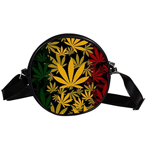 Bennigiry Marihuana Hojas de Cannabis Bolso de hombro redondo para mujer
