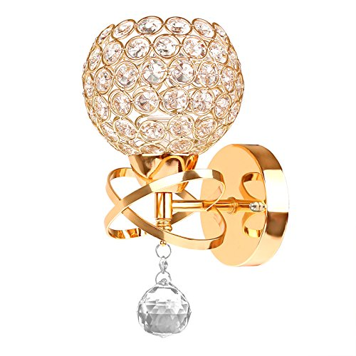 Viitech Crystal Wall Light,Applique da parete in cristallo Lampada da parete moderna a sospensione Lámpara colgante Aplique de cromo Aparato de iluminación de dormitorio - D'oro
