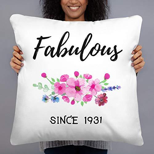 Blafitance Funda de almohada de lona de 35 x 35 cm, funda de almohada de cumpleaños de 90 años, fabulosa desde 1931, regalo para mujer de 90 años, abuela o abuela regalo de cumpleaños