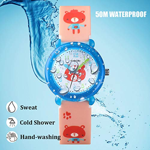 CakCity Kids Watch for Girls Boys Cute Cartoon Waterproof Silicone Children Wrist Watch Analog Watches for Little Child 3-10 Year