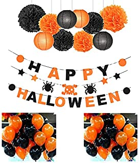 Indoor Halloween Decoration 2018 Party Set - at Office - at Home - 37 Pieces: 24 Ballons 3 Banners 4 Paper Lantern 6 Paper pom poms - by Folgen