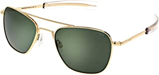 Aviator Sunglasses for Men or Women - Randolph Engineering Sunglasses - Guaranteed for Life, Built to Military Specifications. Authentic Pilot Aviators. Made in USA. 23k Gold AGX Green Polarized, 55mm