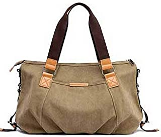 Shoulder Bag Women's Weekend Getaways Canvas Shoulder Bags Tote Bags Handbag Clutch (Color : Khaki, Size : One Size)