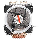 Ventilador enfriador de CPU, ventilador de enfriamiento silencioso con 6 tubos, ventilador enfriador de CPU con enfriador de aire de CPU silencioso de 3/4 pines para In-tel 775 1150 1151 1155 1156 136