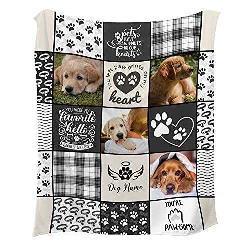 Pet Dog Memorial Gifts - in Loving Memory of Loss Dog Custom Blanket with Dog Pictures and Name - Personalized Sympathy Remembrance Gift for a Grieving Pet Owner