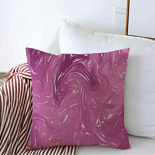 N/Q Funda de Almohada Decorativa Grunge húmedo Natural Abstracto Mineral Rosa mármol patrón Piedra óleo Acuarela Dibujo Madera gráfico Lino Fundas de Almohada cuadradas para sofá Banco de 45 x 45CM