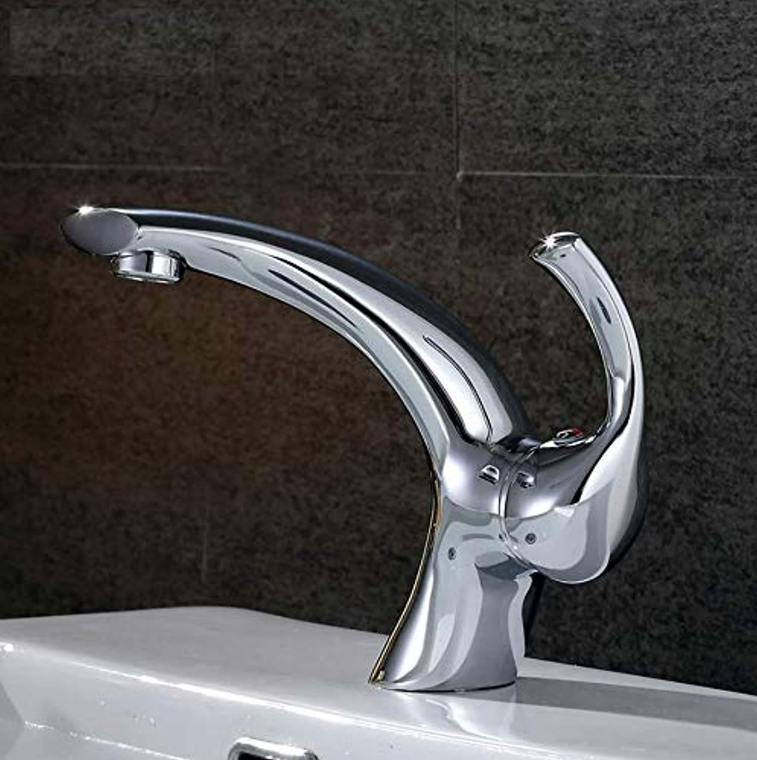 Dwthh Newly Brushed Nickel Basin Faucet, Hot&Cold Mixer Bathroom Basin Tap Brass
