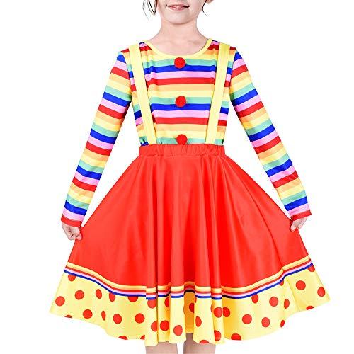 Sunny Fashion Vestito Bambina Costume da Clown Halloween Carnevale di Culture Rosa Lunedi 6 Anni