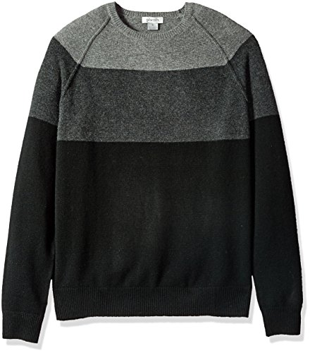 Phenix Cashmere Men's 100% Cashmere Colorblock Raglan Crewneck Sweater, Black/Charcoal/Grey, Large