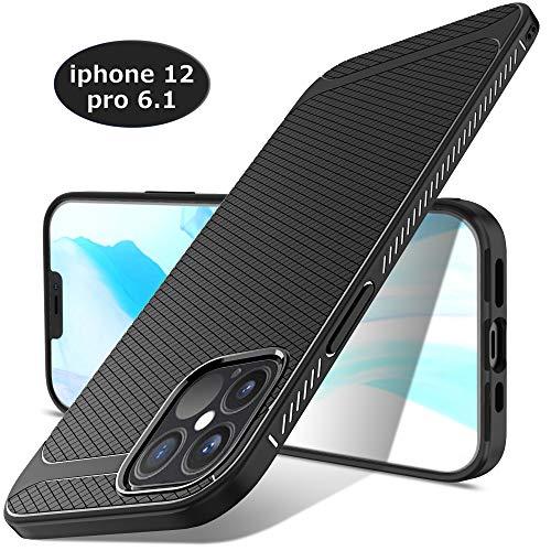 LUIBOR Cover per iPhone 12 PRO/iPhone 12 Max,Nero Sottile Morbido Custodie Robusto Resistente Protettivo Cover per iPhone 12 PRO/iPhone 12 Max