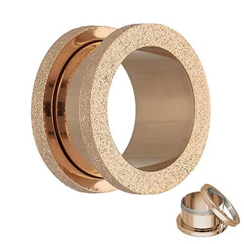 Treuheld Flesh Tunnel - Stahl - Rosegold - Diamant 10 mm