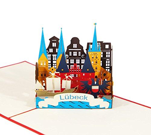 Lübeck Skyline - 3D Karte/Pop-Up Karte/Grußkarte zum Aufklappen