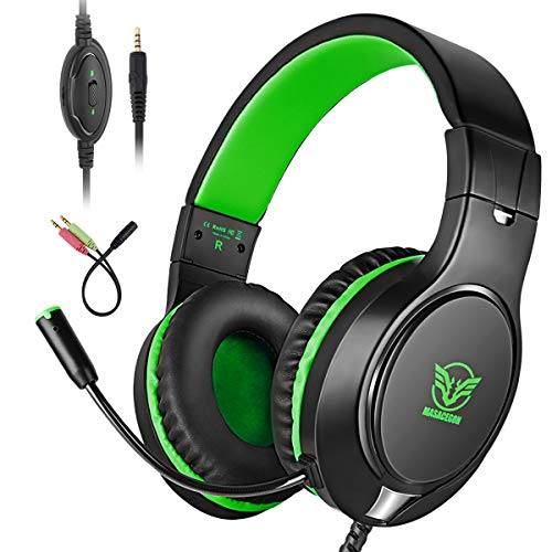 Cocoda Gaming Headset voor Xbox One / PS4 / Nintendo Switch / Mac / Laptop / Computer / iPad, 3,5 mm Stereo Bass Surround Over-Ear Gaming Hoofdtelefoon met ruisonderdrukkende microfoon, volumeregeling en LED-licht, Zwart Groen