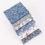 Jingyuu 6 piezas manuales de patchwork grupo Imprimé Floral Tissu de Coton Bundle CarréS Quilting Couture Chiffons Scrapbooking Artcraft-50 * 40 cm