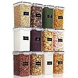 Vtopmart 2L Contenitori Alimentari per Cereali,Pasta, Senza BPA Contenitori Plastica con Coperchio,Set di 12 + 24 Etichette (Nero)