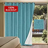 Extra Long and Wide 100% Blackout Curtains Rich Textured Linen Waterproof Patio Door Panel Anti Rust Grommet Home Fashion Window Panel Drapes for Bedroom/ Living Room - Teal- 100 x 84 Inch